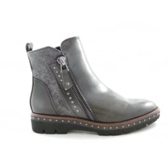 2/25821/29 Lizza Dark Grey Faux Leather Ankle Boot