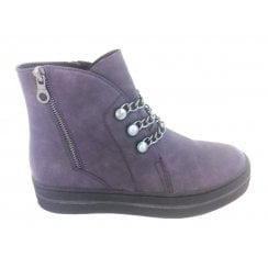 2-25834 Womens Purple Wedge Ankle Boot