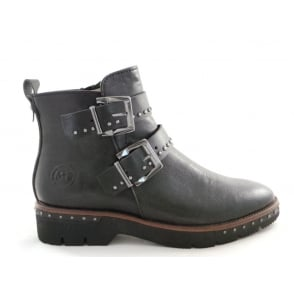2/25848/39 Lizza Black Faux Leather Ankle Boot