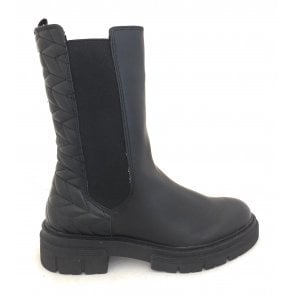 2-25848 Black Faux Leather Biker Boots