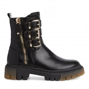 2-25862 Black faux Leather Chunky Ankle Boots