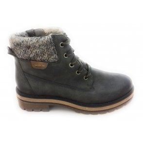 2-26205 Khaki Green Leather Ankle Boot