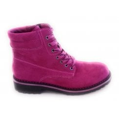2-26231 Fuchsia Pink Lace-Up Ankle Boot