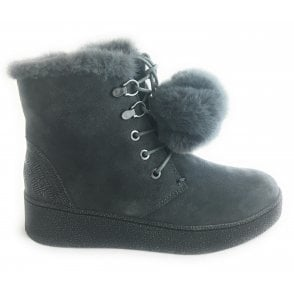 2-26238 Dark Grey Suede Wedge Ankle Boot