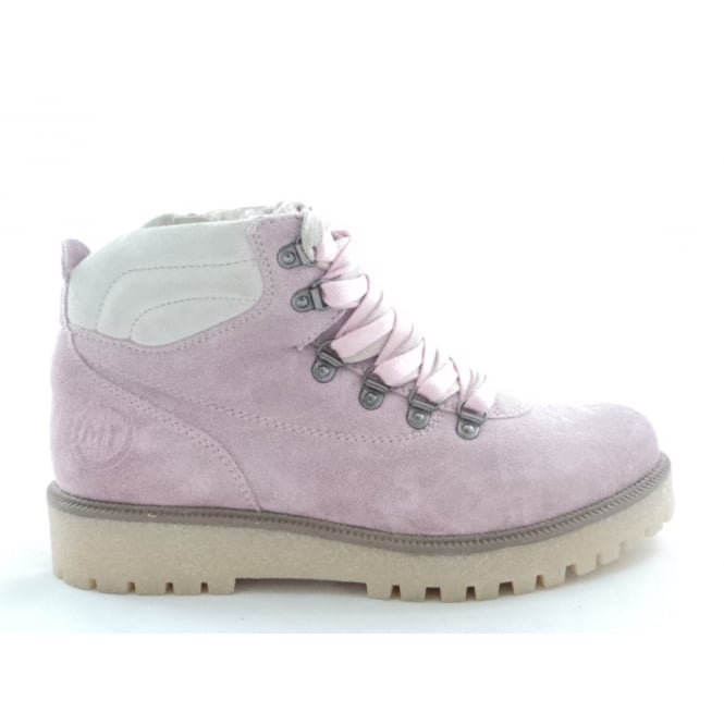 Marco Tozzi 2/26253/29 Monte Rose Pink Suede Lace-Up Ankle Boot