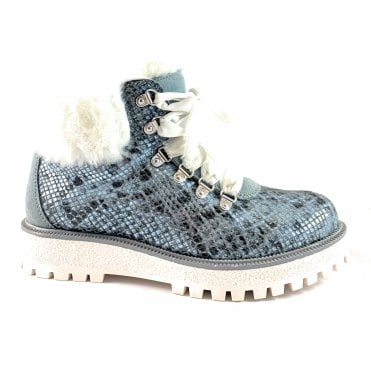 2/26263/39 Monte Sky Blue Printed Leather Lace-Up Ankle Boot