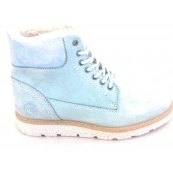 2-26287 Sky Blue Leather Lace-Up Ankle Boot