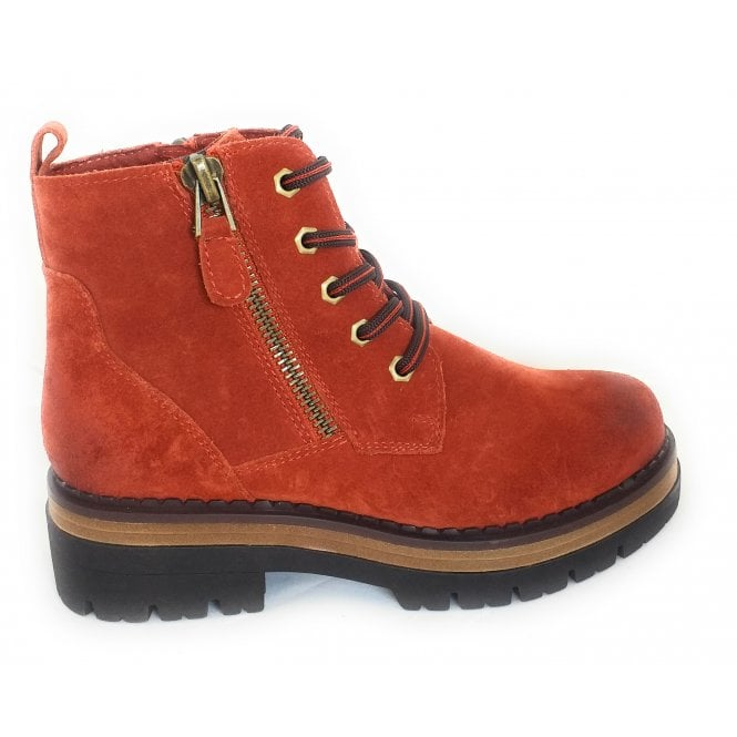Marco Tozzi 2-26293 Red Suede Lace-Up Boots