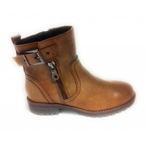 2-26407 Womens Tan Leather Ankle Boot