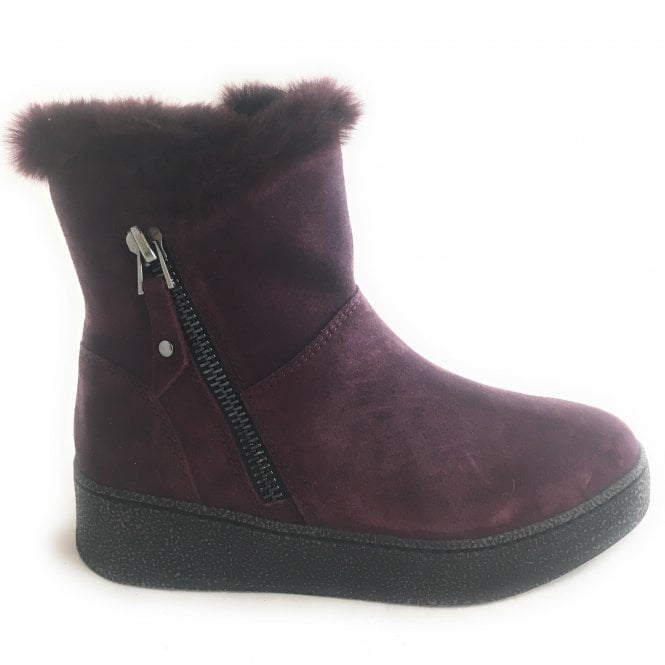 Marco Tozzi 2-26464 Burgundy Suede Wedge Boot