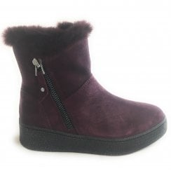 2-26464 Burgundy Suede Wedge Boot