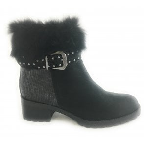 2-26476 Womens Black Leather Ankle Boot