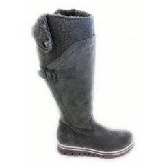 2-26628 Grey Suede Knee High Boot