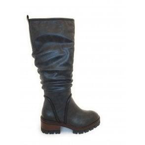 2-26644 Dark Grey Knee High Boots