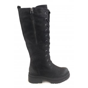 2-26668 Black Lace-Up Knee High Boots