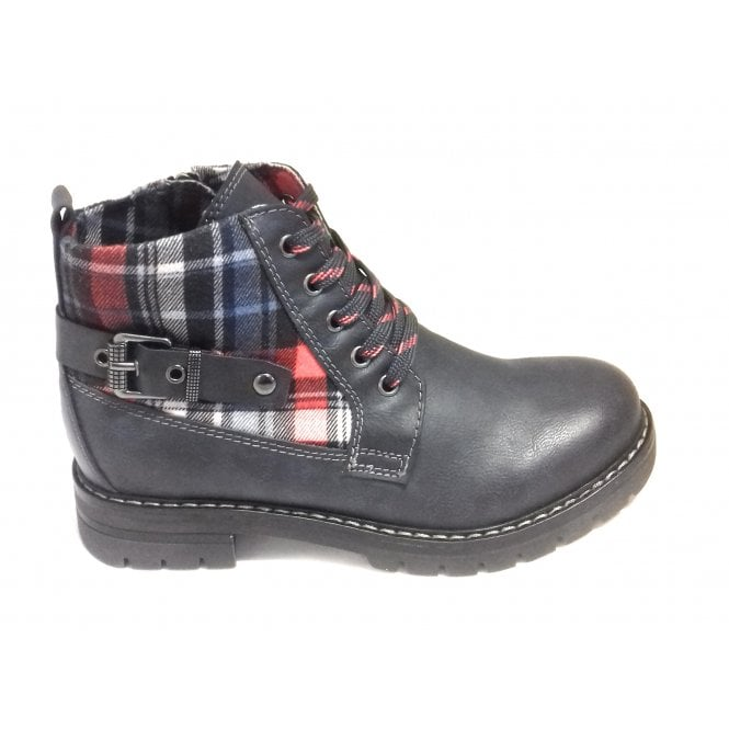 Marco Tozzi 2-26712 Womens Navy Tartan Ankle Boots