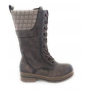 2-26770 Ginosa Taupe Faux Leather Mid Calf Boots