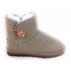 2-26822 Old Rose Suede Fleece Lined Ankle Boot