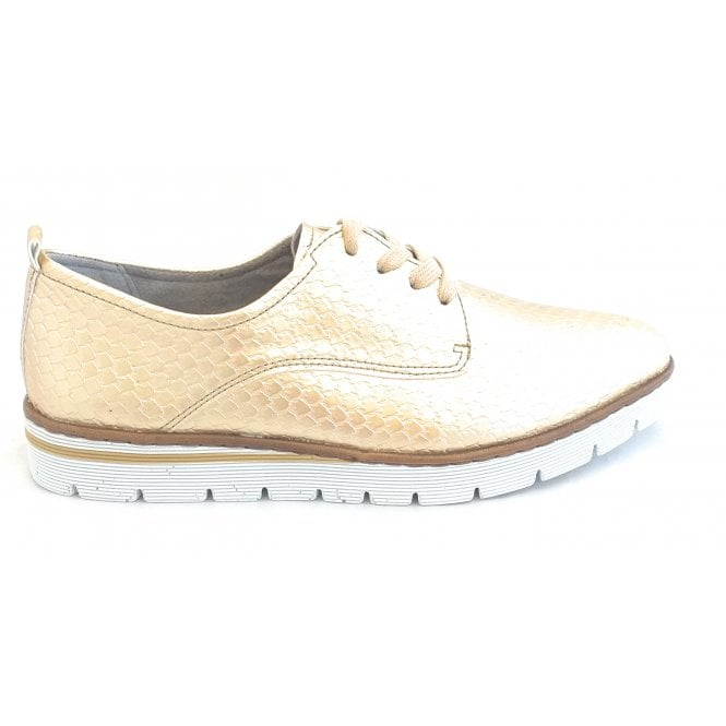 Jenny 22-50454 Portmore Gold Reptile Print Lace-Up Shoes