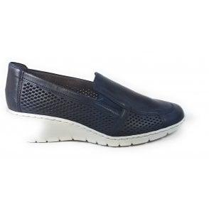 22-50946 Reggio Navy Slip-On Wedge Shoes