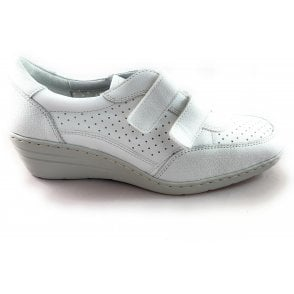 22-50961 Reggio-Ang White Leather Casual Wedge Shoe