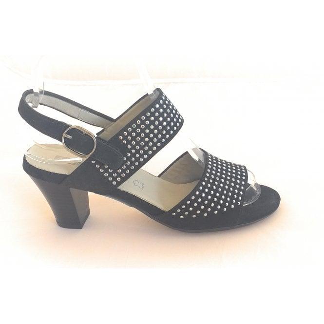 Jenny 22-52005 Lagos Black Suede Heeled Sandal