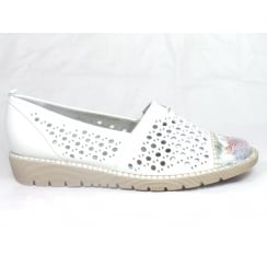 22-52325 Bellevue White Leather Slip-On Casual Shoe