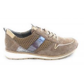 22-52405 Sapporo Taupe Suede Trainers