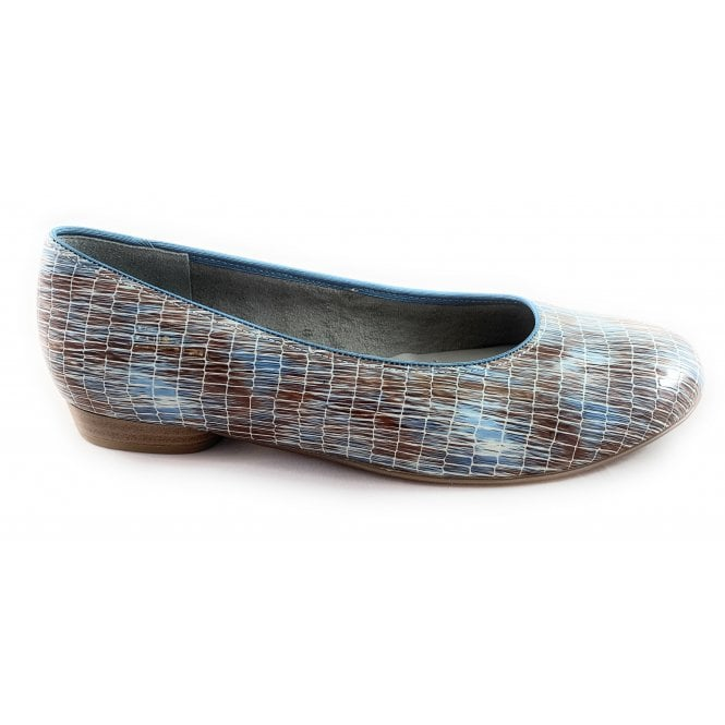 Jenny 22-53305 Pisa Sky Blue and Taupe Court Shoe