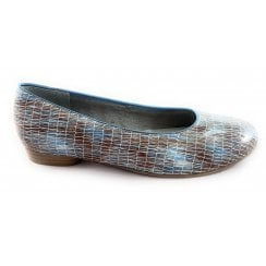 22-53305 Pisa Sky Blue and Taupe Court Shoe