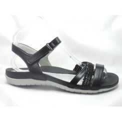 22-55939 Nepal Black Leather Flat Sandal