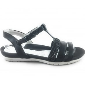 22-55941 Nepal Black Leather open-Toe Sandal