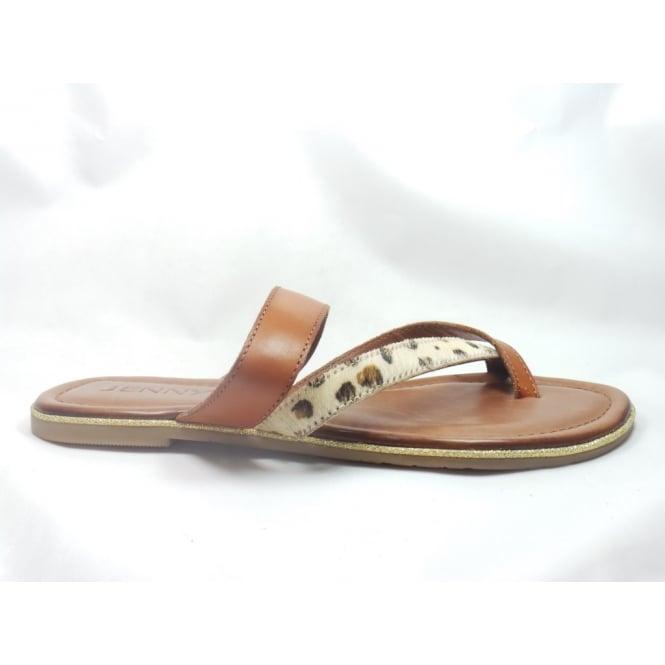 5b459d771dd2 Jenny 22-56103 Jamaica Tan and Animal Print Toe-Post Sandal - Jenny from  size4footwear.com UK