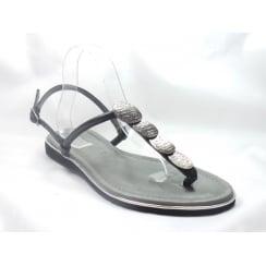22-56113 Bahama Black Leather Toe-Post Sandal