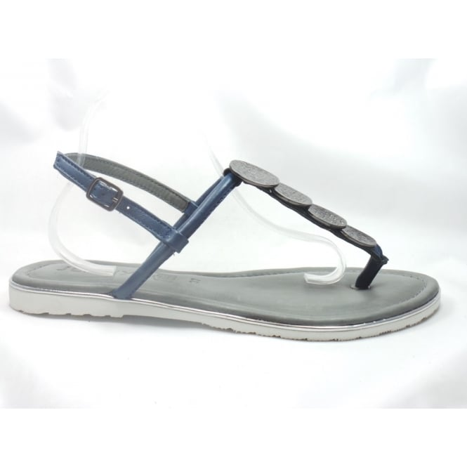 Jenny 22-56113 Bahama Navy Blue Leather Toe-Post Sandal