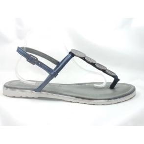 22-56113 Bahama Navy Blue Leather Toe-Post Sandal
