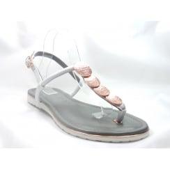 22-56113 Bahama White Leather Toe-Post Sandal