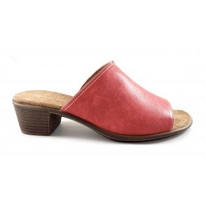 22-56402 Ballina Red Faux Leather Heeled Mule