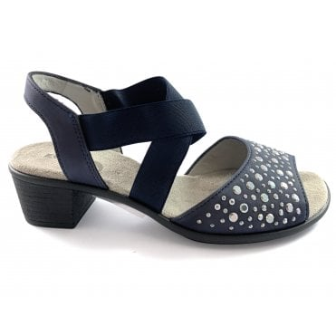 22-56465 Ballina Navy Heeled Wide fit Sandal
