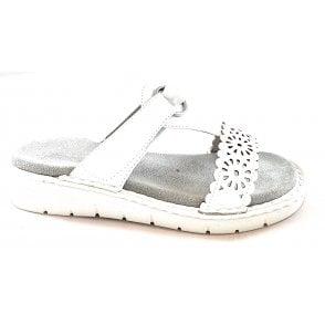 22-57222 Korsika Sport White Faux Leather Mule