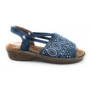 22-57262 Korsika Blue Canvas Open-Toe Sandal