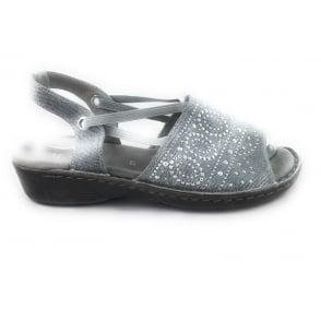 22-57262 Korsika Grey Canvas Open-Toe Sandal