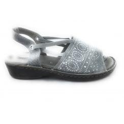 22-57262 Korsika Grey Canvas Open-Toe Sandal
