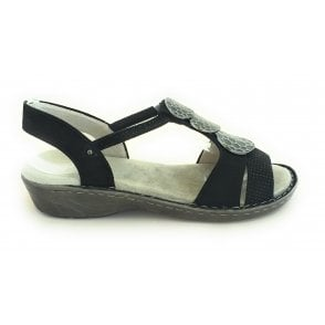 22-57287 Korsika Black Faux Suede Open-Toe Sandal