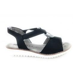 22-57513 Belize-Sand Black Leather Open -Toe Sandal