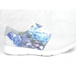 22-57713 Zamora White and Blue Lace-Up Casual Shoe