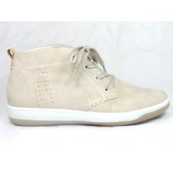22-58716 Beige Leather Lace-Up Casual Ankle Boot