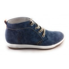 22-58716 Denim Blue  Leather Lace-Up Casual Ankle Boot