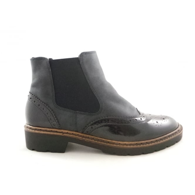 Jenny 22-60004 Portland Navy Blue and Patent Brogue Ankle Boot