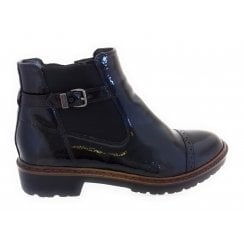 22-60064 Portland Black Patent Ankle Boot